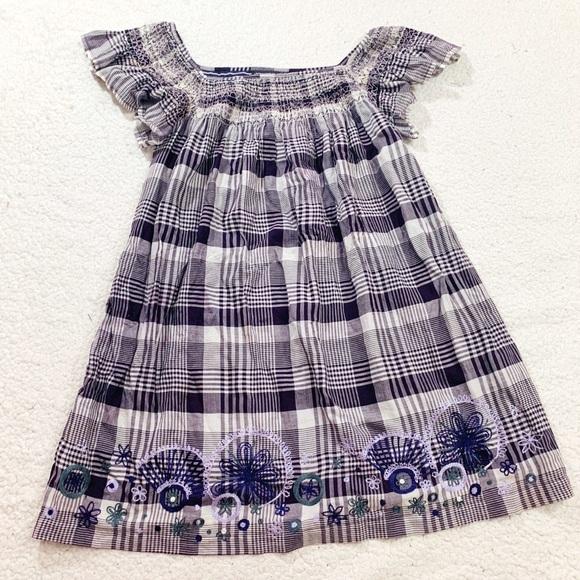 Antik Batik Dresses & Skirts - Antik batik purple plaid embroidered dress l 42